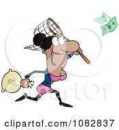 Clipart Black Businesswoman Catching Money With A Net Royalty Free Vector Illustration