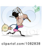 Clipart African American Businesswoman Catching Money With A Net Royalty Free Vector Illustration