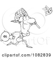 Clipart Outlined Businesswoman Catching Money With A Net Royalty Free Vector Illustration