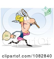 Clipart White Businesswoman Catching Money With A Net Royalty Free Vector Illustration
