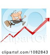 Clipart White Businessman Running Up An Arrow Royalty Free Vector Illustration by Hit Toon