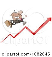 Clipart Hispanic Businessman Running Up An Arrow Royalty Free Vector Illustration by Hit Toon
