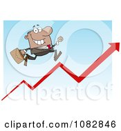 Clipart African American Businessman Running Up An Arrow Royalty Free Vector Illustration
