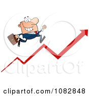 Clipart Caucasian Businessman Running Up An Arrow Royalty Free Vector Illustration by Hit Toon