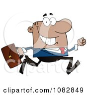 Clipart Black Businessman On The Run With His Briefcase Royalty Free Vector Illustration