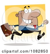 Clipart African American Businessman On The Run With His Briefcase Royalty Free Vector Illustration