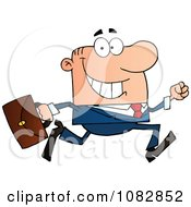 Clipart Caucasian Businessman On The Run With His Briefcase Royalty Free Vector Illustration