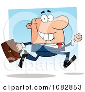 Clipart White Businessman On The Run With His Briefcase Royalty Free Vector Illustration