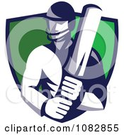 Cricket Batsman Over A Green Shield