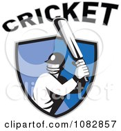 Cricket Batsman Over A Blue Shield With Text