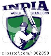 India World Champions Cricket Batsman Over A Green Shield