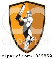 Cricket Batsman Over An Orange Shield