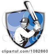 Cricket Batsman Over A Blue Shield