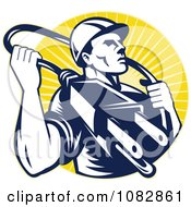 Clipart Retro Electrician With A Plug And Cable Over Yellow Rays Royalty Free Vector Illustration