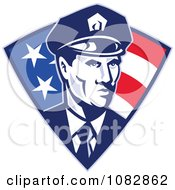 Clipart Retro Police Officer Over An American Triangle Royalty Free Vector Illustration