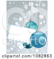 Clipart Silver Christmas Snowflake And Bauble Background With A Blank Tag Royalty Free Vector Illustration