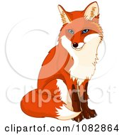 Clipart Sitting Handsome Fox Royalty Free Vector Illustration by Pushkin