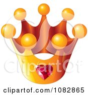 Clipart Golden Crown With A Ruby Heart Royalty Free Vector Illustration