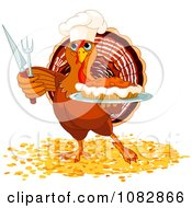 Clipart Thanksgiving Turkey Chef Holding A Pumpkin Pie Royalty Free Vector Illustration by Pushkin