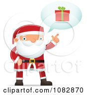 Clipart Santa Discussing A Gift Royalty Free Vector Illustration