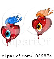 Clipart Flaming Hearts With Blue And Orange Eyes Royalty Free Vector Illustration