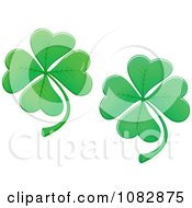 Clipart Two Lucky Four Leaf Clover Shamrocks Royalty Free Vector Illustration