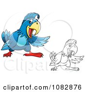Clipart Blue And Outlined Presenting Parrots Royalty Free Vector Illustration
