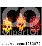 Clipart Three Flaming Skulls On Black Royalty Free Vector Illustration