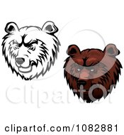 Clipart Black And White And Brown Kodiak Bear Faces Royalty Free Vector Illustration