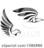 Clipart Black And White Flying Eagles In Profile Royalty Free Vector Illustration