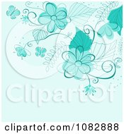 Clipart Blue Background With Turquoise Flowers Butterflies And Copyspace Royalty Free Vector Illustration