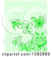 Clipart Green Background With A Grasshopper Bright Flowers And Copyspace Royalty Free Vector Illustration