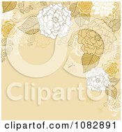 Clipart Brown Background With Tan And White Flowers Butterflies And Copyspace Royalty Free Vector Illustration