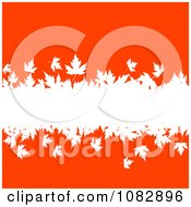 Clipart White Autumn Leaves Spanning An Orange Red Background Royalty Free Vector Illustration