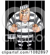 Clipart Tired Old Prisoner Hugging The Bars Of His Jail Cell Royalty Free Vector Illustration