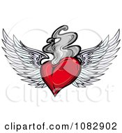 Clipart Red Winged Heart Smoke Or Gray Flames Royalty Free Vector Illustration