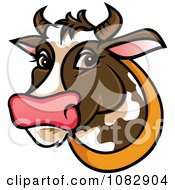 Clipart Curious Brown Dairy Cow Royalty Free Vector Illustration