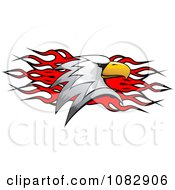 Clipart Bald Eagle Head Over Red Flames Royalty Free Vector Illustration
