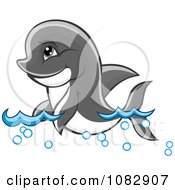 Clipart Cute Dolphin Swimming Through Waves Royalty Free Vector Illustration by Vector Tradition SM
