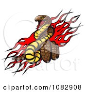Clipart Dangerous Snake Over Red Flames Royalty Free Vector Illustration