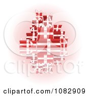 Clipart Stack Of 3d Red Gift Boxes With White Ribbons And Bows Royalty Free Vector Illustration