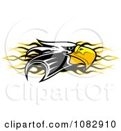 Clipart Bald Eagle Head Over Black And Yellow Flames Royalty Free Vector Illustration