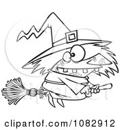 Clipart Outlined Warted Witch On Her Broomstick Royalty Free Vector Illustration