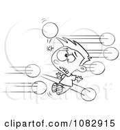 Clipart Outlined Boy Getting Hit With Dodgeballs Royalty Free Vector Illustration