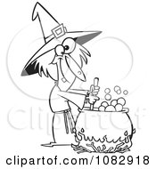 Clipart Outlined Warted Witch Stirring Her Potion Royalty Free Vector Illustration