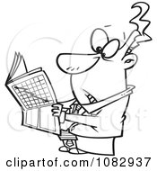 Clipart Outlined Businessman Reading The Stock Market News Royalty Free Vector Illustration