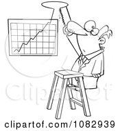 Clipart Outlined Businessman Cutting A Hole In The Ceiling For His Profit Chart Royalty Free Vector Illustration
