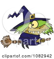 Clipart Warted Green Witch On Her Broomstick Royalty Free Vector Illustration
