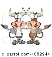 Clipart Bull Cow Buddies Royalty Free Vector Illustration by toonaday