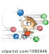 Clipart Boy Getting Hit With Dodgeballs Royalty Free Vector Illustration